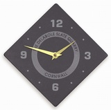 Diamond Shaped Quarter Numbered Clock With Logo (Large)